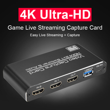 Hd 1080p usb 3.0 hdmi placa de captura de vídeo 2x1 loop hdmi 4k & mic + áudio captura placa jogo registro streaming ao vivo loop local para fora
