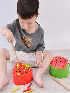 Wooden Toys Cognitive Educational-Toys Worm 3d Puzzle Game-Color Early-Childhood Strawberry