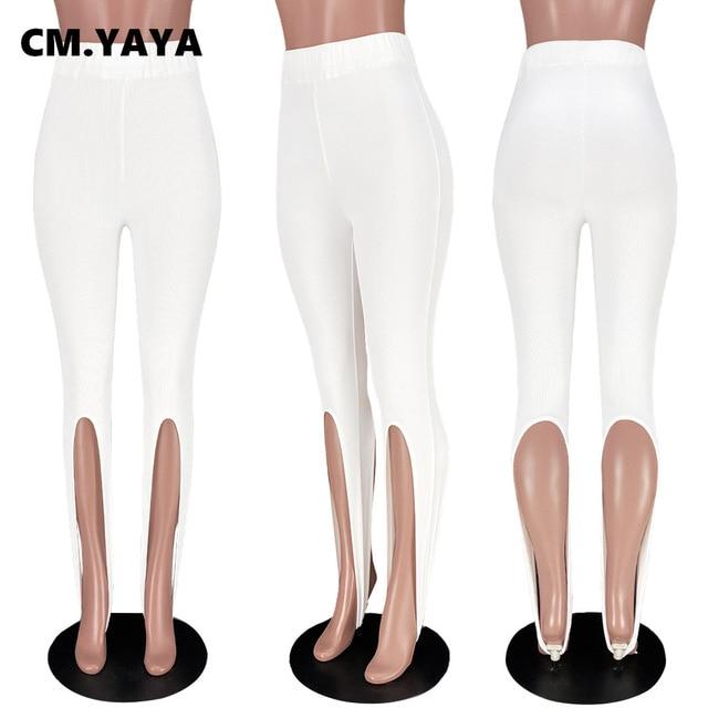 CM.YAYA Women Knit Solid High Slit Legging Pants Streetwear Party High Waist Trousers 5