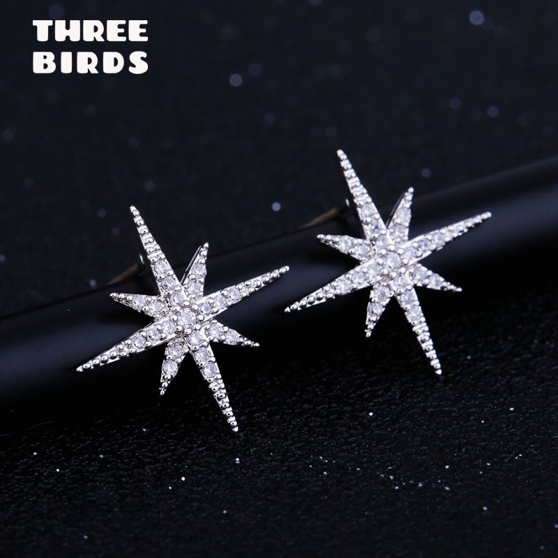 Tiny Trendy 925 Silver classics Star Stud Earrings delicate cubic zirconia geometric small Earrings boucle d'oreille femme 2019