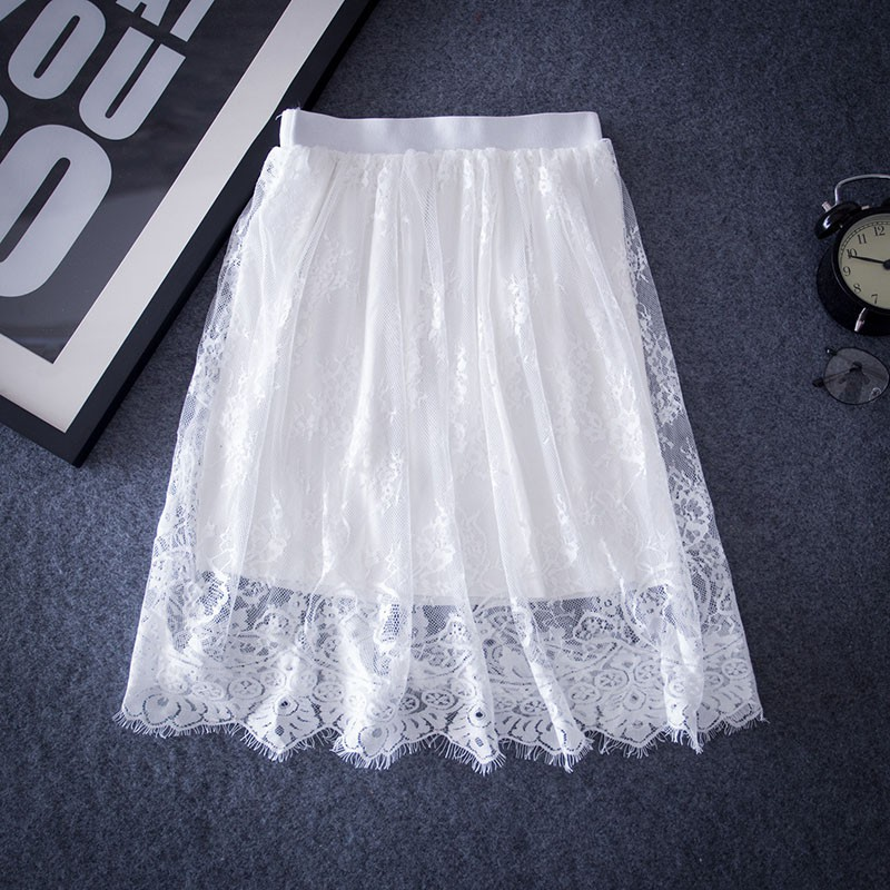 Fashion Women Lace Fabric Hollow Skirts Wild Bottoming Curtain Decoration Skirt Slim Was Thin Gauze Cloth Lined Summer Skirt Rk