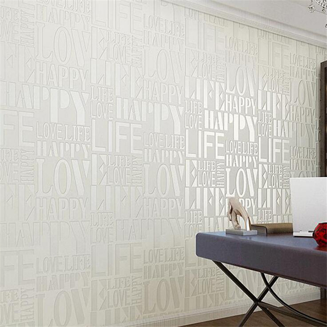Modern simple fashion personality white English alphabet love wallpaper 3D stereo high-end clothing store decoration wallpaper
