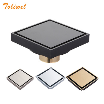 цена на Free Shipping 10cm Square Bathroom Brass Shower Drains Floor Drain Trap Waste Grate Invisible Drainer Brushed Chrome Antique