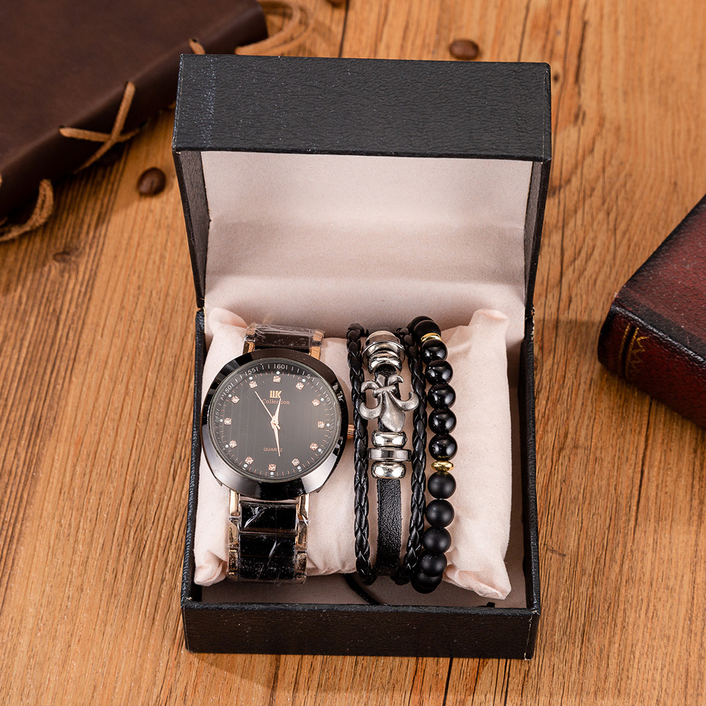3pcs/Set Men's Gift Set Beautifully Packaged Watch +2pcs Bracelet Creative Minimalist Combination Set-3pcs