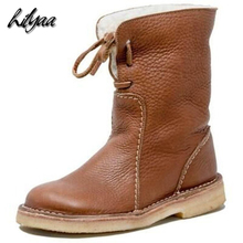 Купить с кэшбэком Woman Warm Fashion Mid-Calf Boots Hot PU Leather Female Snow Boots Lamb Wool Mid-Calf Ladies Warm Platform Boots Big Size 35-43