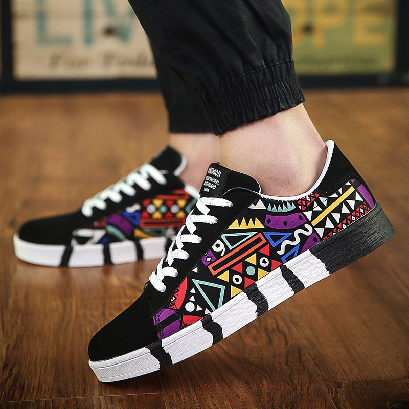 MJ Graffiti Men's Shoes Winter New Vulcanized Shoes Casual Canvas Sports Shoes Printing Students Running Shoes Tennis Men