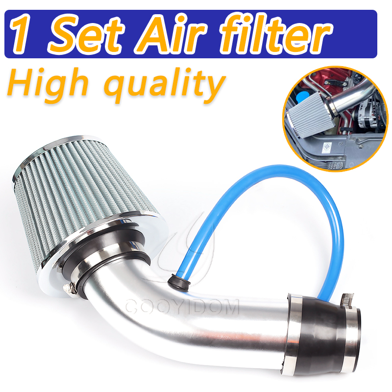 COOYIDOM 1Set Universal 3 Inch Car Cold Air Intake Filter Aluminum Induction Kit Pipe Hose System Silver filtro