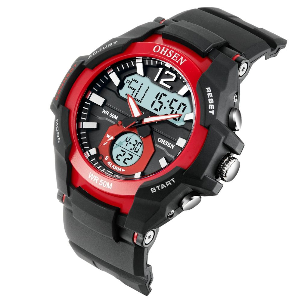 OHSEN Waterproof Digital Quartz Men's <font><b>Watches</b></font> Fashion Red army Outdoor Sport man Wristwatch Silicone Electronic Male clocks image