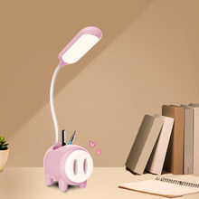 1200mAh LED Table Lamp with Pig Shape Pen Holder Base USB Charging Touch Switch Dimmer Study Lights Desk Lamp Room Bedside Lamp(China)
