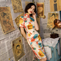 SHENG COCO Umbrella Fan Digital Print Silk Chinese Dress New Pattern Design Cheongsam Banquet Dress Women Chinese Qipao