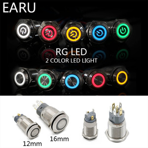 12mm 16mm Dual Color RGB LED Light Mirco Switch Momentary Self-reset Latching Fixation Waterproof Metal Push Button Switch Power(China)