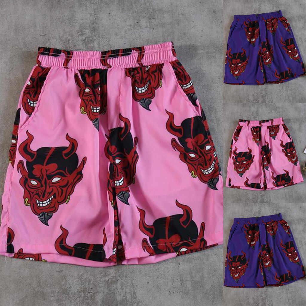 מכנסיים מקרית גברים נשים לשני המינים שטן מלא מודפס היפ הופ Streetwear הוואי אלסטי מותניים קיץ החוף קצר Masculino #623
