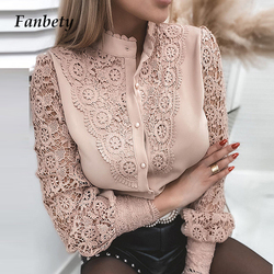 Women Sexy Lace Blouse 2021 Spring Elegant Stand Collar Button Design Top Hollow Out Petal Sleeve Shirt Office Lady Casual Blusa