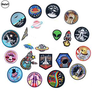 (30 Styles) 1 PCS Alien UFO Embroidery Patches for Clothing DIY Stripes Astronaut Appliques Clothes Stickers Iron on Space Badge