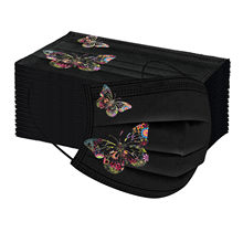 50 pçs borboleta impressa feminina máscara descartável 3ply tecido não tecido filtro boca capa respirável earloop máscara facial mascarillas