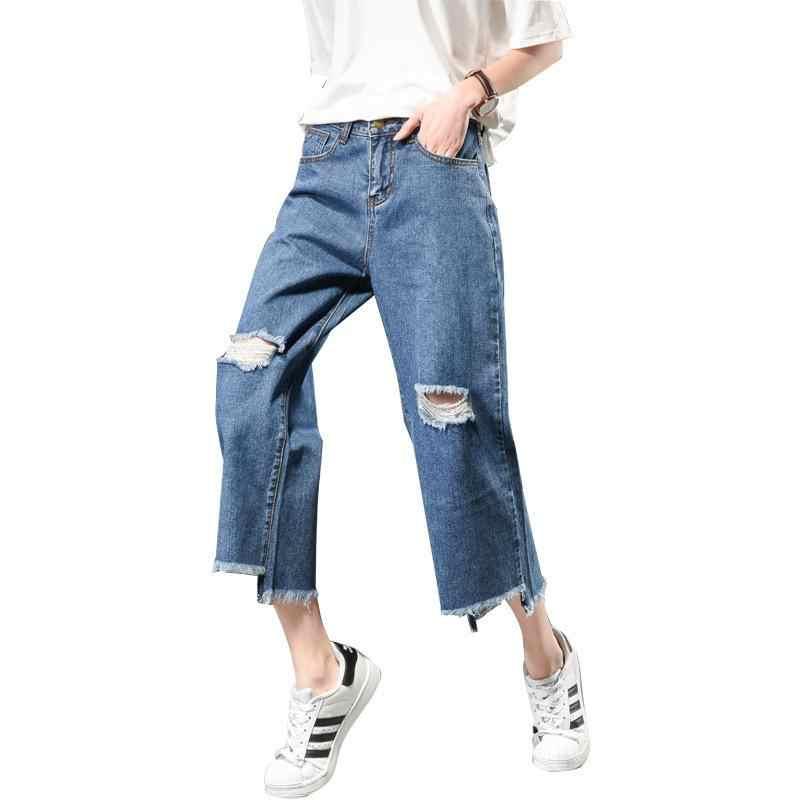 2018 Pantaloni Autunno per le Donne Del Denim Dei Jeans A Vita Alta Dei Jeans Allentati del Foro del Bordo di Capelli di Modo Pantaloni Larghi del Piedino jeans grandi taglie O8R2