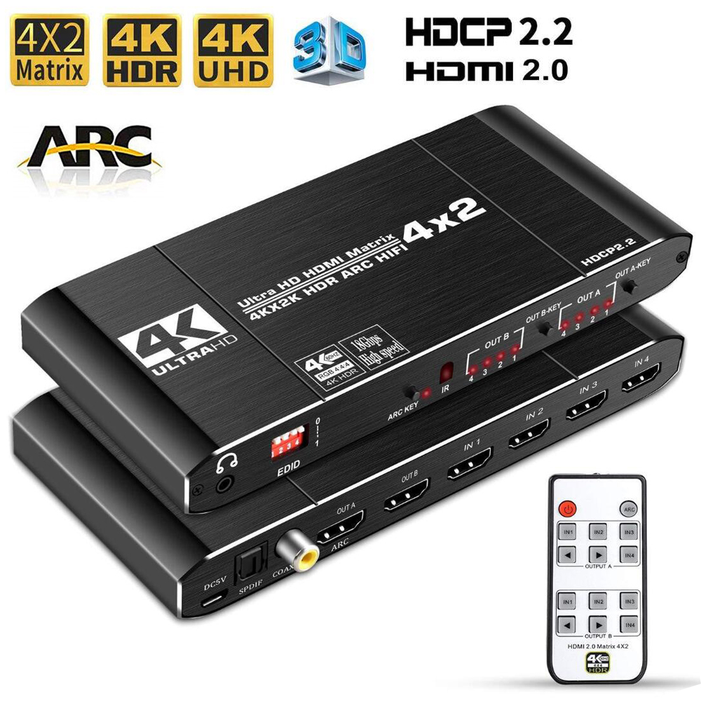 HDMI 2.0 Matrix 4K@60Hz HDMI Matrix 4x2 Switch Splitter HDCP 2.2 HDMI 4X2 matrix Swicther with audio HDR(China)