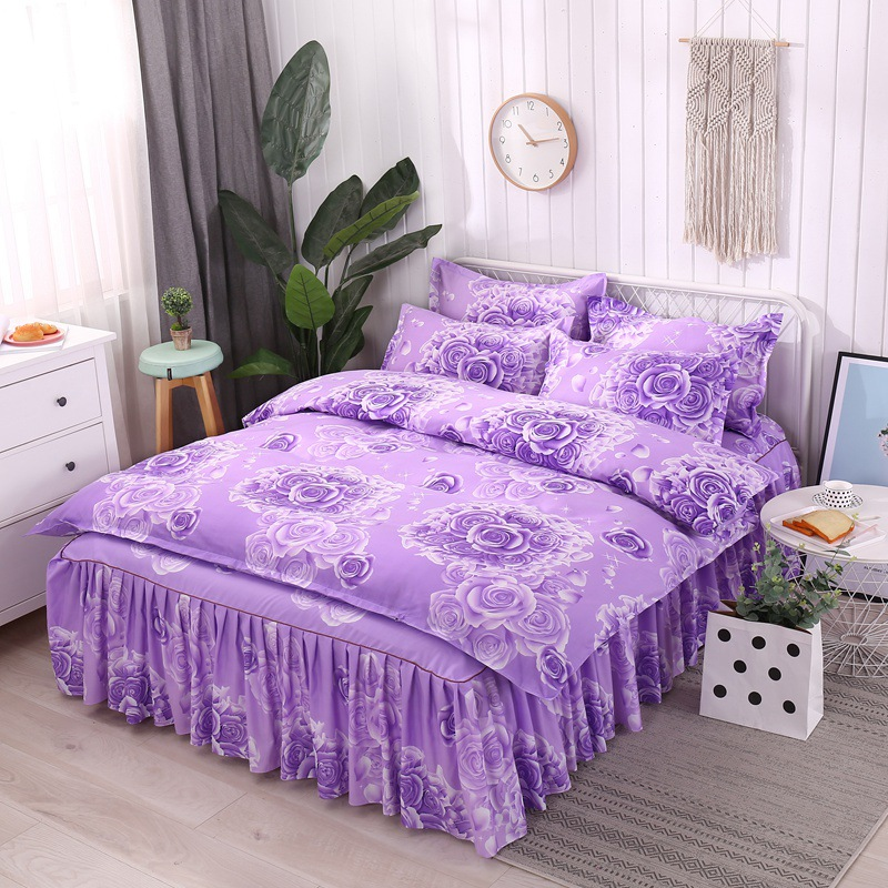 Plant Cashmere Wool Thick Brushed Princess Bed Skirt Four-piece Set 2019 New Style Simmons Bedspread Wechat Business
