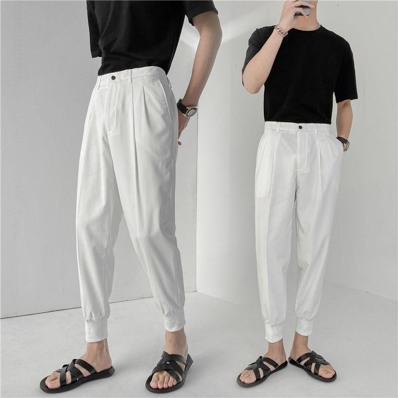 Suit Pants Men's Slim Fashion Solid Color Casual Harem Pants Men Korean Straight Leg Business Society Mens Dress Pants 29-35