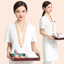 Korean fashion dermatologist short sleeve high-end cosmetologist tattoo artist working uniform woman