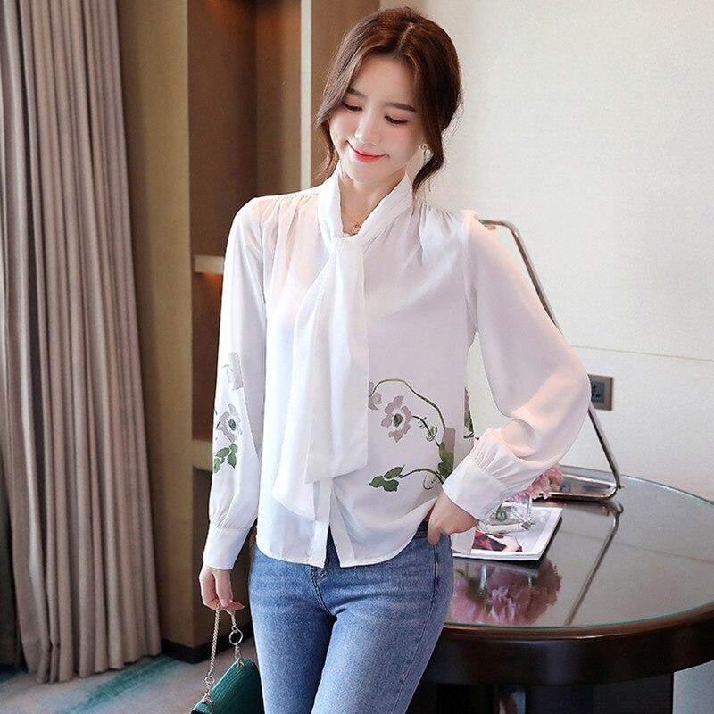 Блузка женская белая рубашка с длинным рукавом блузка принтом