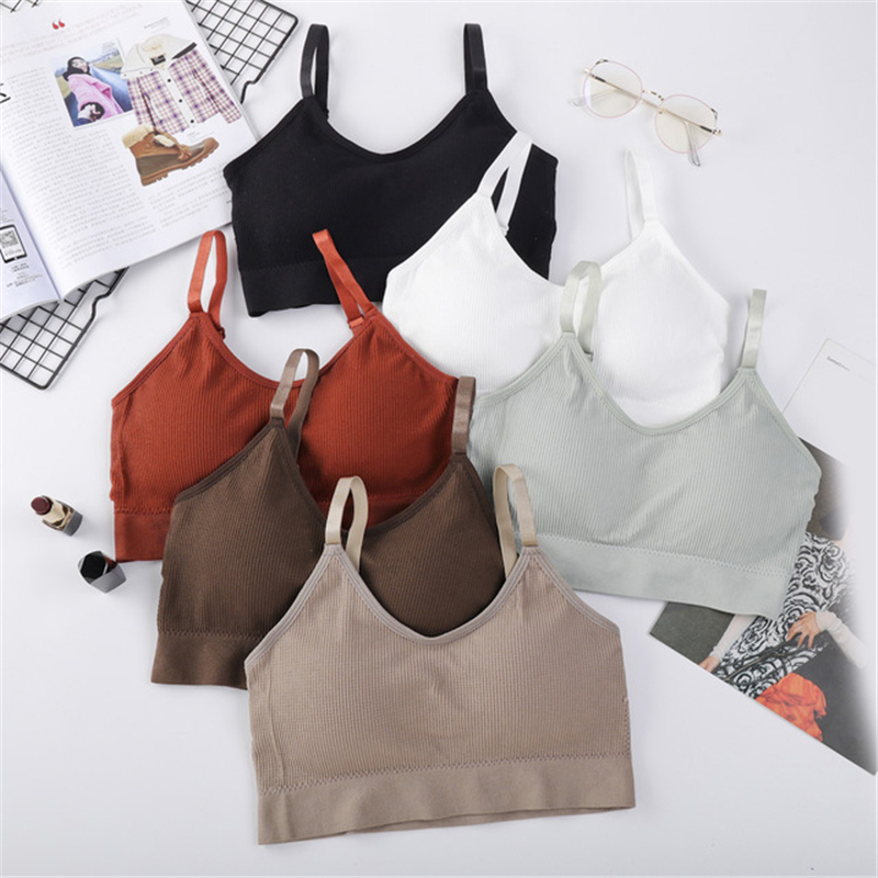 Women Crop Tops Seamless Underwear Female Tank Camis Sexy Lingerie Intimates Removable Padded Camisole Femme Sports 4