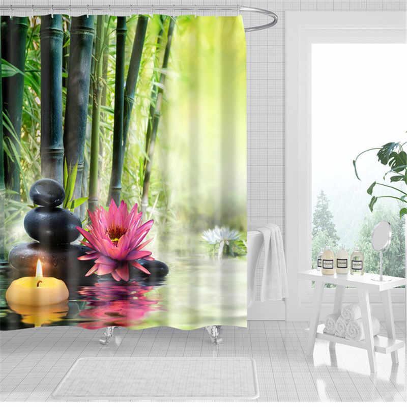 المشهد النباتات دش الستار الخيزران لوتس الزهور ثلاثية الأبعاد حمام واحد الطباعة البوليستر مقاوم للماء للحمام ديكور 180x200 سنتيمتر