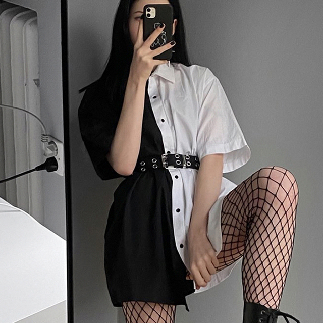 SUCHCUTE Patchwork Women Mini Dress With Button Loose Solid Streetwear Gothic Short Sleeve Dresses Modis Women Party Outfits 2