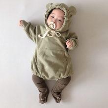 2020 Autumn New Children's Clothing Baby Bodysuits Kid Boys Bear Ears Hooded Jumpsuit Cotton Long Sleeve Baby Girl Bodysuit