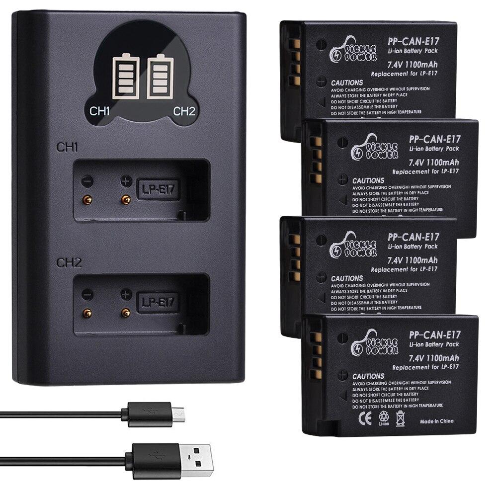4 Pièces LPE17 LP E17 LP-E17 Batterie et LED Chargeur Double USB pour Canon EOS 200D M3 M5 M6 750D 760D T6i T6s 800D 8000D Baiser X8i Caméra