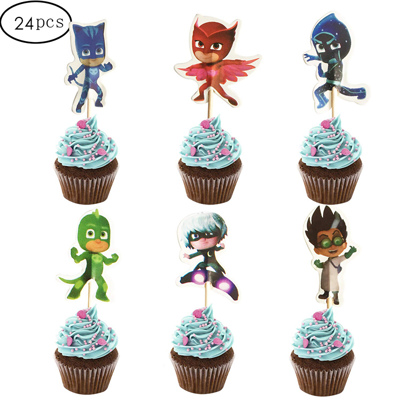 24PCS PJ Masks Action Figure Catboy Owlette Gekko Cupcake Toppers For Kids Birthday Party Cake Decoration Supplies