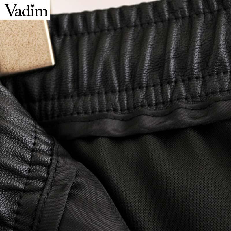 Vadim women chic PU leather pants solid elastic waist drawstring tie pockets female basic elegant trousers KB131 4