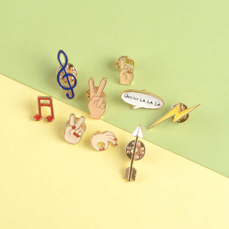 Gesto di vittoria dello smalto pin Musica simbolo Carino Chat box spilla fulmine freccia spilla distintivo Vestiti sacchetto dei monili del sacchetto del regalo del commercio all'ingrosso