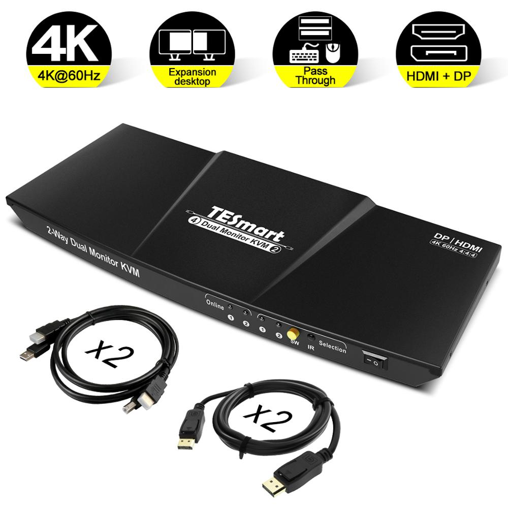 HDMI+DP 4x2 KVM Switch 2 Port Output (HDMI+DP) 4x2 Dual Monitor KVM Switch HDMI DP Switch Up To 4K@60Hz USB 2.0 KVM Pass Through