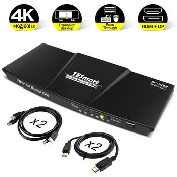 цена на HDMI+DP 4x2 KVM Switch 2 Port Output (HDMI+DP) 4x2 Dual Monitor KVM Switch HDMI DP Switch Up to 4K@60Hz USB 2.0 KVM pass through
