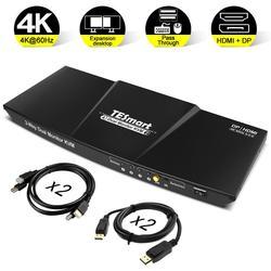 HDMI + DP 4x2 KVM interruptor 2 puerto de salida (+ HDMI + DP) 4x2 de Monitor Dual KVM interruptor HDMI conmutador DP 4K @ 60Hz USB 2,0 KVM pasar a través de