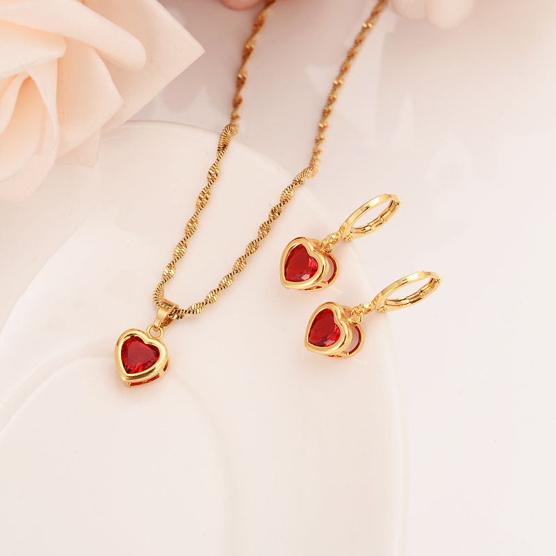 gold Bridal crystal Jewelry Sets Heart White Blue Green Cubic Zircon Earring Necklace chain Jewelry Sets for Women girls gift