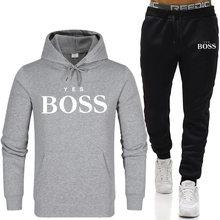 Chándal de moda con capucha para hombre, conjuntos de marca Yes Boss, sudaderas + Pantalones de chándal, jersey de lana con capucha para Otoño e Invierno