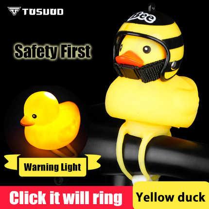 TOSUOD Luz de bicicleta pequeño pato amarillo con casco de bicicleta de carretera campana de bicicleta para niños cuerno de luz de viento roto pato