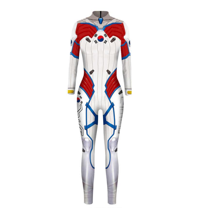 Disfraces de Halloween OW para mujeres de talla grande Cosplay D Va Dva D. va Zentai Spandex traje de Halloween mujer adulta
