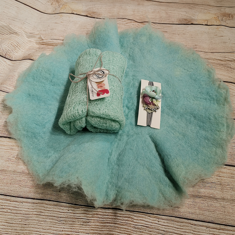 Handcraft Wool Felted Round Blanket+ 150*40cm Mohair Stretch Knit Wrap+matched Cotton Headband For Newborn Photography Props