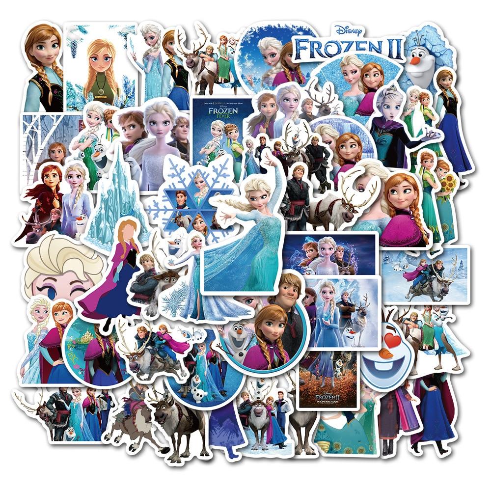 New 50 Pcs Frozen 2 Stickers Princess Elsa Graffiti Frozen Sticker For Kids On Laptop Skateboard Suitcase Bike Stickers Pack