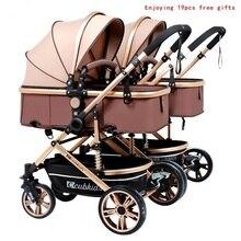 Детская коляска для близнецов, роскошная модная коляска с алюминиевой рамой, детская коляска с высоким пейзажем