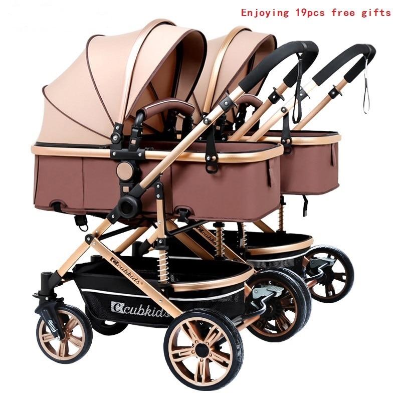 Бесплатная доставка, детская коляска для близнецов, роскошная модная коляска с алюминиевой рамой, детская коляска с высоким пейзажем