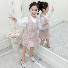 2pcs Clothes for Children Girls Set Plaid Dress+blouse Dress with Sleeveless Kids Outfits