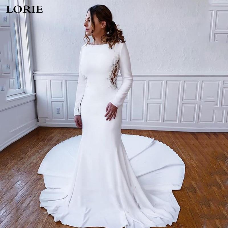 LORIE Mermaid Satin Wedding Dress Long Sleeve Lace Mermaid Appliqued Muslim Bride Dresses Vestido De Novia 2019 Wedding Gown
