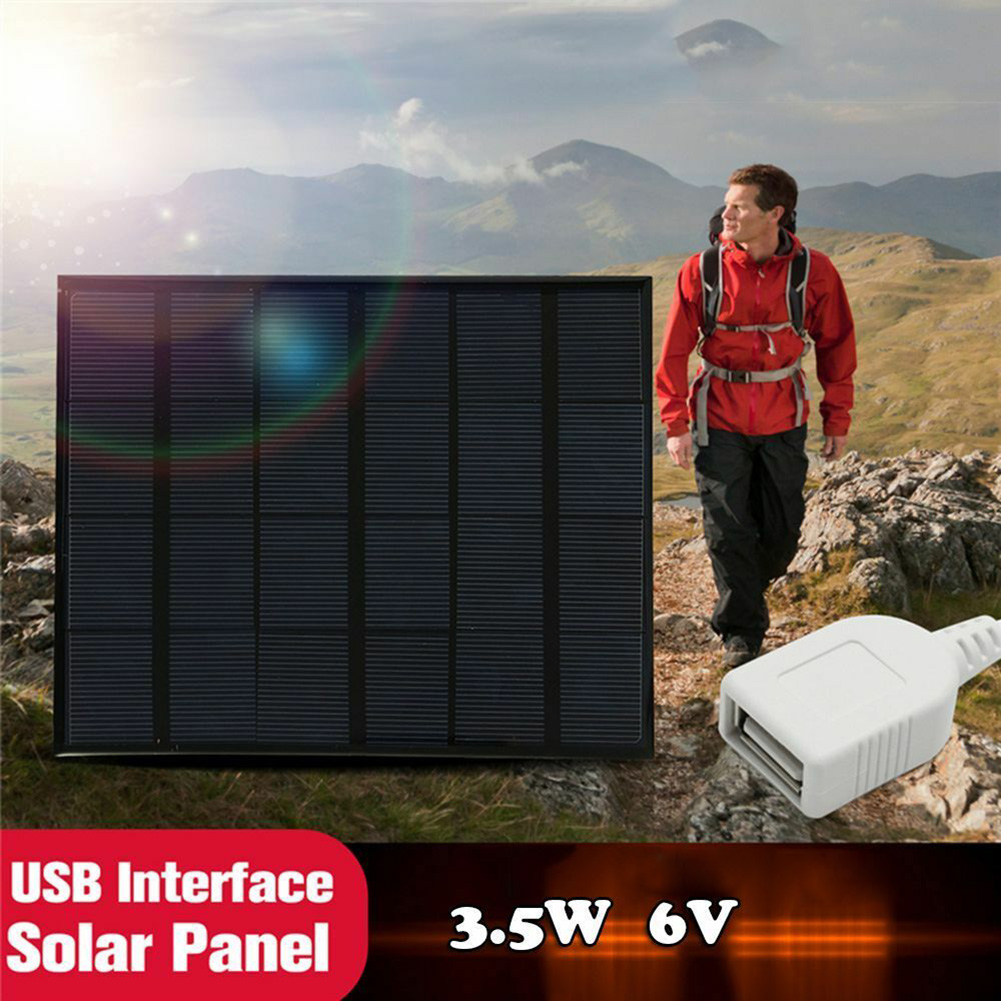 Solar Panel System Charger 3.5W 6V Charging for Mobile Phone Power Bank Camping DTT88