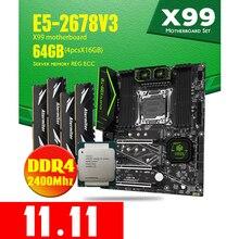 HUANANZHI إنتل سيون E5 2678 V3 X99 F8 اللوحة DDR4 LGA2011 3 و 2011 64 جيجابايت = 16 جيجابايت * 4 قطعة 2400 ميجا هرتز الذاكرة اللوحة مجموعة ECC