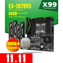 HUANANZHI Intel Xeon E5 2678 V3 X99 F8 Motherboard DDR4 LGA2011 3 and 2011 64GB = 16GB *4pcs 2400MHz Memory Motherboard Set ECC