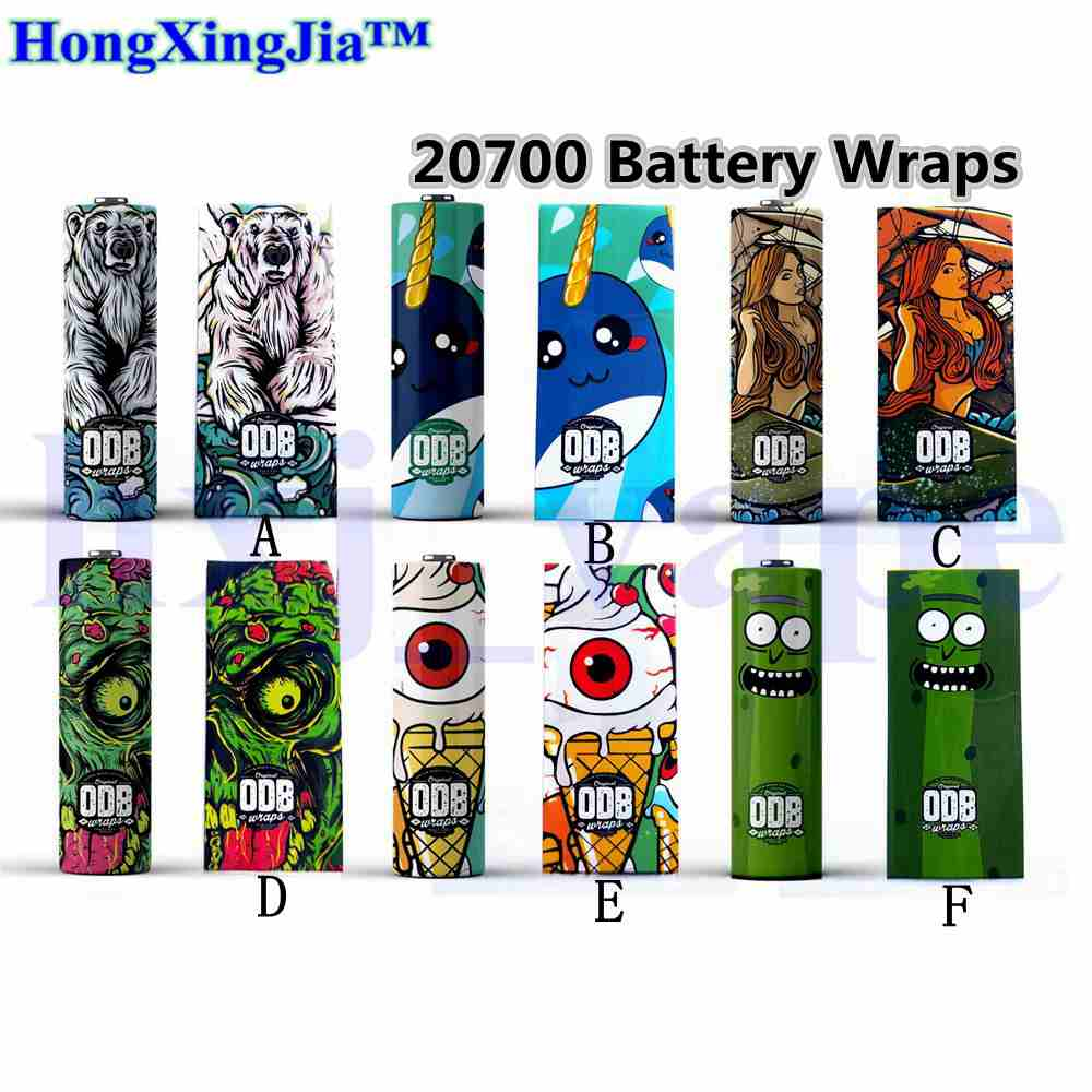 <font><b>20/10</b></font>/5pcs For 20700 21700 ODB Battery Wrap PVC Battery Sticker Protective Skin for 20700 Tube Mod Cover E-Cigarette Accessories image